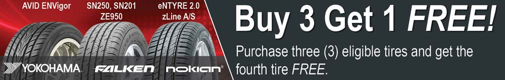 Buy 3 Get 1 Free on select Falken, Nokian and Yokohama tread patterns.